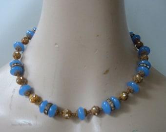 Art Deco Blue Chalcedony Choker Necklace Collar Beads Gilt Brass Filigree Rhinestones Rondelles German