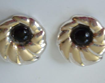 Vintage Los Ballesteros Sterling Silver Earrings Black Onyx Cabs Mexico Art Deco Flowers 925