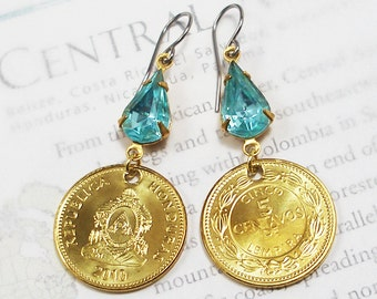 Honduras, Authentic Coin Earrings --- Deep Waters --- Maritime History - Central America - Caribbean Sea - World Traveller - Travel Gifts