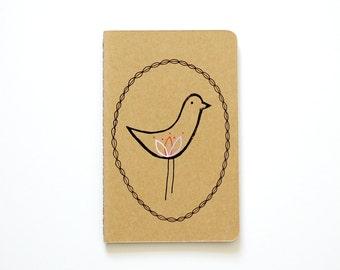 Small Notebook, Bird Illustration, Scandinavian, Stocking StufferS, Gift for Her, Lined Notebook, Pocket Journal, Idea Notebook