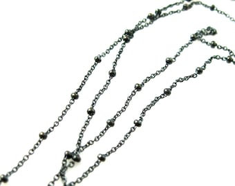 Oxidized Sterling Silver Ball Chain Bulk Unfinished 1.6mm Cable Oval Bead Chain, Oxidized Silver Chain - Sku: 101006-OX