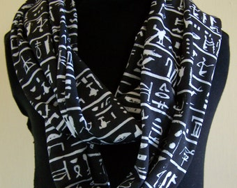 SALE Ancient Egyptian Hieroglyphs Knit Infinity Scarf