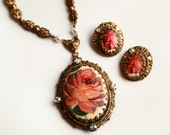 HOLD for ROSE ~ Vintage Painted Rose Pendant Necklace and Earrings ~ Vintage Jewelry ~ Victorian Rose Jewelry ~ Retro Jewelry