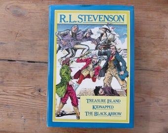Vintage R. L. Stevenson Three Stories Reader Book, Treasure Island, Kidnapped, The Black Arrow, Robert Louis Stevenson Books, Adventure Book