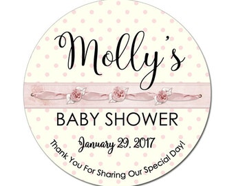 Custom Baby Girl Shower Labels Personalized Pink Ribbons Round Glossy Designer Stickers