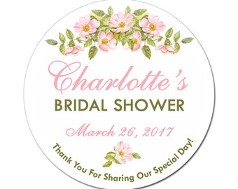 Personalized Bridal Shower Labels Sweet Roses Flowers Round Glossy Designer Stickers