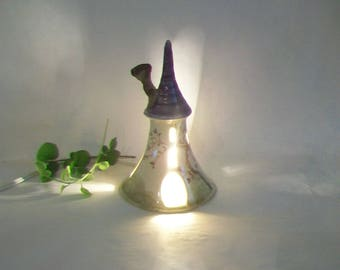 Fairy Tower/Night Light - Purple Roof - Rapunzels Tower - Wheel Thrown - Hand Painted Rose Vine - Ready to Ship Now - Actual Tower