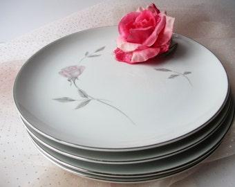 Vintage Dinner Plates Mikasa Primrose Pink Rose Set of Four