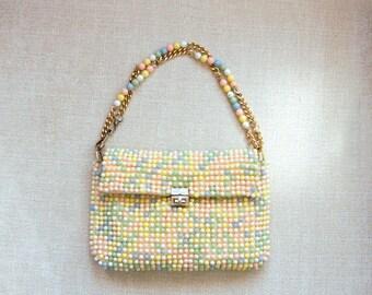 Vintage Beaded Purse, Womens Handbag, 1960s Shoulder Bag by Debbie, Pastel Rainbow Beads, Adjustable Strap, Mod, Retro, Easter