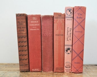 Vintage Faded Red Book Collection Lot of 6 Decorative Antique Books Home Decor Rustic Interior Design Display