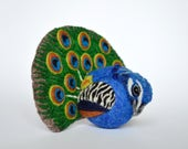 Reserved listing for Mel - Peacock, needle felted wool ornament