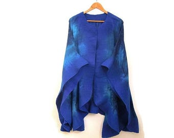 silk poncho with felted edges, blue