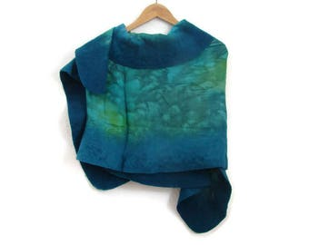 felted silk shawl, teal, green