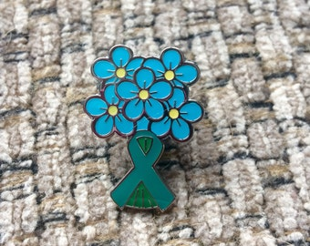 Forget-Me-Not Teal Ribbon Ovarian Cancer Lapel Pins
