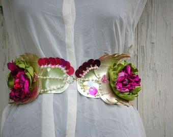 Belt, gypsy belt, steampunk gypsy, Marie Antoinette, flower belt, let them eat cake, gold and pink, flowers,beads, sequins, women, romance