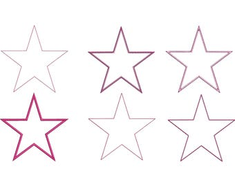 6 Stars Embroidery Machine Applique Design Set (11 Sizes)