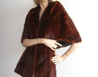HOLIDAY SALE Vintage 50s Lux Brown Mink Fur Hollywood Starlet Wrap Stole Cape