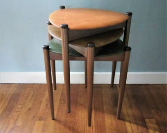 Mid Century Danish Modern Lu Van Inc Stacking Tables/Stools