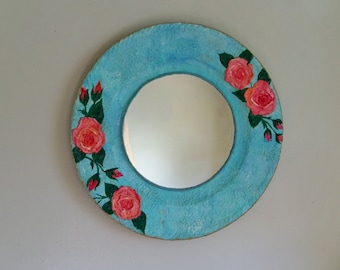 Decorative shabby chic bohemian wall  mirror, shabby chic wall decor, round mirror, roses art mirror,  country decor mirror, gypsy mirror
