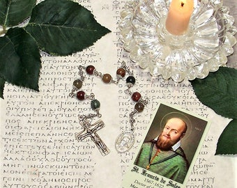 Unbreakable Catholic Chaplet of St. Francis de Sales - Patron Saint of Deaf People, Teachers and Writers - Heirloom Chaplet