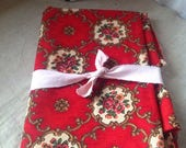 "Vintage French Fabric, Red Floral Panel, Antique Textile / Sewing & Home Furnishings/ 95"" x 32"" Decorative Textiles"