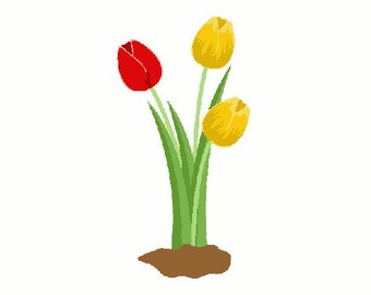 Tulips digital embroidery design, Tulips digitized embroidery design