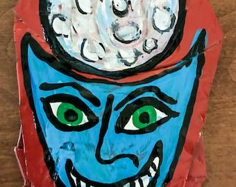 Blu Moon Demon - Painting on 12 oz. pop can - Real Pop Art