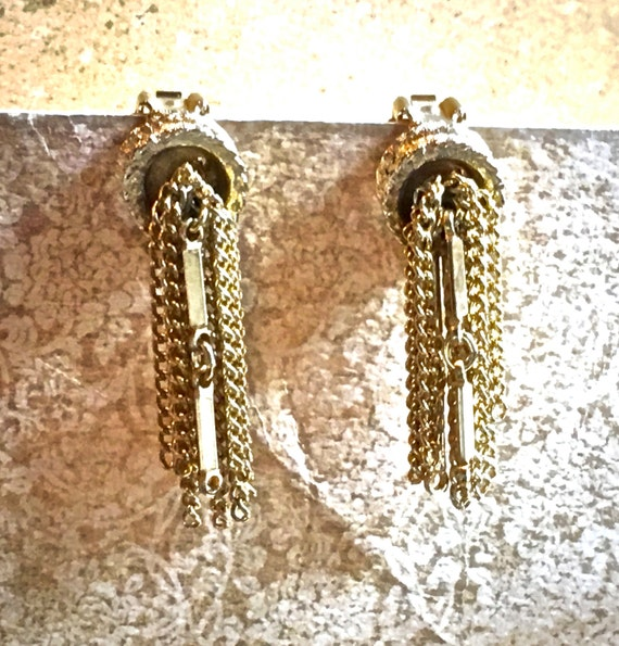 Signed Kramer gold earrings, clip on vintage chain style