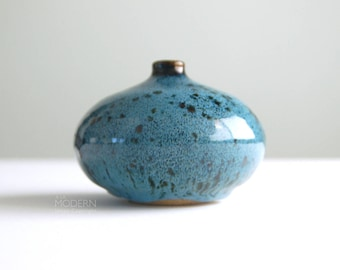 Jennings Studio Pottery Stoneware Blue Mottled Glaze Weed Pot Vase