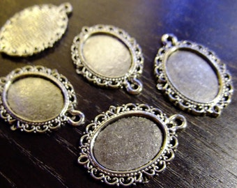 Destash (8) Small Oval Cameo Setting - for pendants, jewelry making, crafts, scrapbooking