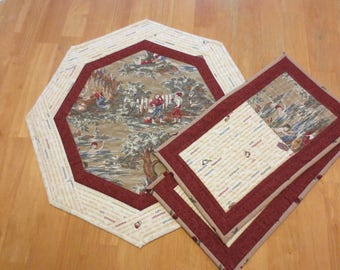 Quilted Table Topper and Mug Rug Set, Tom and Huck theme, Set of 3, Free Motion Quilting and Straight Stitch Quilting