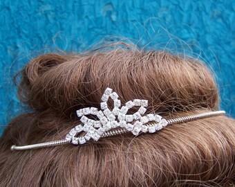 Vintage rhinestone tiara leaf design prom pageant wedding bridal headdress headpiece 1980s fashion (AAD)