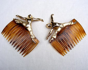 Vintage hair combs 2 figural dancer hair accessory hair jewellery headdress headpiece hair ornament decorative comb
