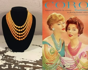 On the Road to Delhi - Vintage 1950s Tangerine Orange Ombre 5 Strand Faux Pearl Necklace
