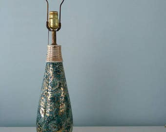 Lamp Base, Vintage Mid Century, Turquoise 22 kt Gold Ceramic, Blue and Gold,  Deco Era