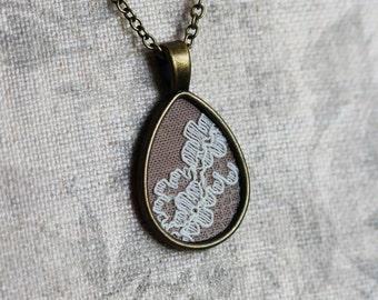 Art Nouveau Necklace, Teardrop Pendant, Beige Bridesmaid, Unique Gift For Women, Cotton, Anniversary Gift, Ivory Lace, Flower Jewelry