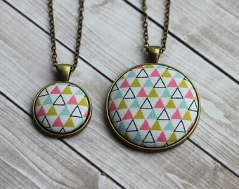 Triangle Necklace, Small Or Large Pendant, Cute Necklace, Pastel Fabric Jewelry, Colorful, Retro, Mod, Geometric, Eclectic, Pink Blue White