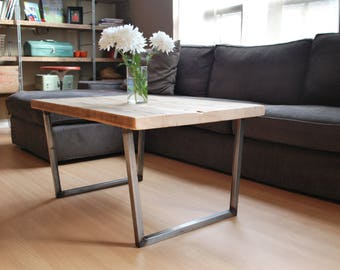 "Modern Wood Coffee table with square steel legs made of reclaimed wood, Standard 1.65"" top, 48"" L x 20"" W x 18"" tall"