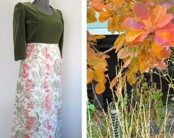 Vintage 1950s Hostess Dress / Olive Green Velvet Floral Brocade / Mid Century Handmade