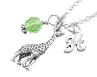 New Mom Necklace. Giraffe, Sterling Silver. Personalized. Initial. Birthstone. Gift new Mom. Mothers Day. Baby shower. giraffes. HALLIE