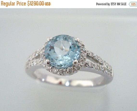 ON SALE Aquamarine & Diamond Engagement Ring 14K White Gold 1.21 Carat Handmade Halo Certified Birthstone