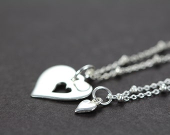 Mother Daughter Necklace Set - Mothers Day Gift - Mother of the Bride - Push Gift - 925 Sterling Silver