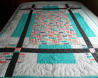 Modern Multi Color Feather Baby or Crib Quilt