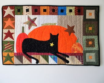 Cat On A Shelf Quilted  Wall Hanging