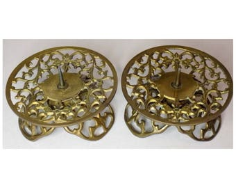 Vintage Pillar Candle Holders, Pair of Spiked Brass Openwork Metal Scroll Design Candle Holder Decor, Set of 2