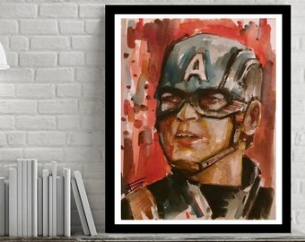 PRINT CAPTAIN AMERICA poster original art painting watercolors marvel prints, Valentine gift