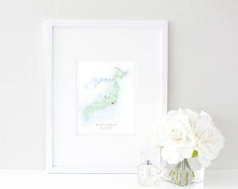 Japan Watercolor Map | Destination Map Print | Personalized Watercolor Map | Honeymoon Map | Anniversary Map | Watercolor Wedding Map