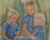 Painting of Children, Portrait of Sisters, Custom Portrait, Portrait with three figures, Family Portriat, Commissioned Portrait