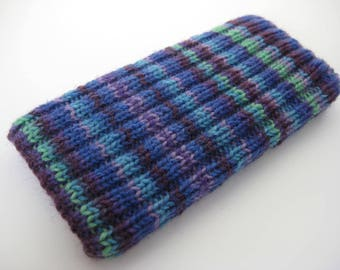 mobile phone sock - hand knitted wool iPhone 5 or SE sock cosy - knitted phone cosy - phone case - blue purple striped case - cellphone sock