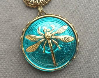Dragonfly Necklace - Dragonfly Pendant - Dragonfly Jewelry - Aqua Necklace - Czech Glass Necklace - Glass Jewelry - Aqua Jewelry - Aqua Blue